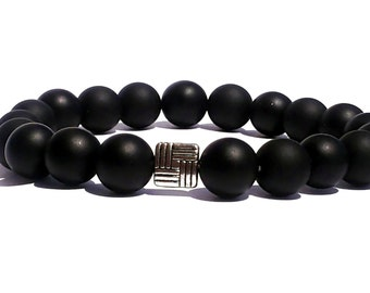Men's Matte Black Onyx Bracelet, 10mm Matte Onyx Beads Bracelet, Mens Beaded Bracelet,Black Bead Bracelet,Mens Jewelry,Mens Stretch Bracelet