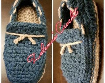 Crochet Men's Tied Loafer Slippers, Crochet Loafer Slippers, Loafer Slippers, Crochet Loafer, Crochet Gift