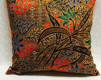 12in Authentic Malaysian fabric decorative pillow