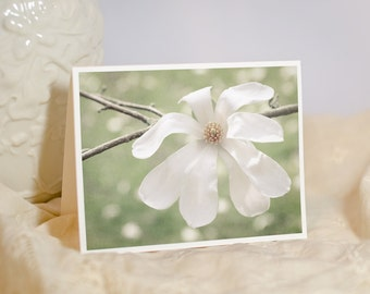Magnolia Flower Greeting Card - White Flower Photography - Nature Photo Cards - Girl Birthday Card - Pastel Green - Blank or Custom Card