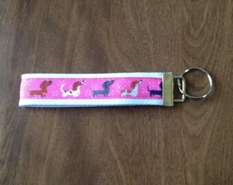 Dachshund Wiener Dog, doxie wristlet key fob holder key chain zipper pull