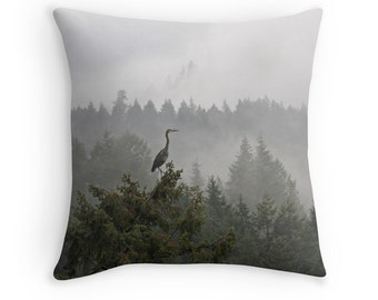 Bird Cushion, Heron Cushion, Bird Decor, Woodland Cushion, Nature Cushion, Wildlife Cushion, Wildlife Decor, Animal Decor, Throw Pillow