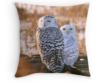 Owl Cushion, Owl Throw Pillow, Snowy Owl, Gift for Girlfriend, Two Birds, Gift for Her, Winter Birds, Bird Cushion, Bird Pillow
