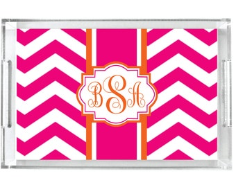 Monogrammed Lucite Tray Personalized Acrylic Tray Home Decor Serving Tray Initial Tray Personalized Tray Sorority Preppy Acrylic Tray Insert