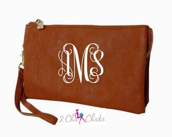 Monogram Crossbody Purse, monogram clutch, monogram purse, bridesmaids gift, monogram wristlet, personalized purse wallet crossbody bag