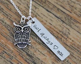 Owl Always Love You Necklace, Owl Necklace, Hand Stamped, Children's Necklace, Personalized Necklace