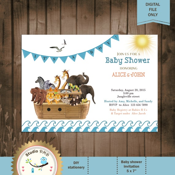 noah 39 s ark baby shower invitation boy baby shower invitation noah 39 s
