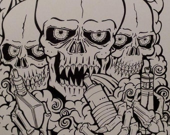 Original Vape Art - 426 x 601 mm Goth VAPING SKULL BROTHERS Poster - by Kevski
