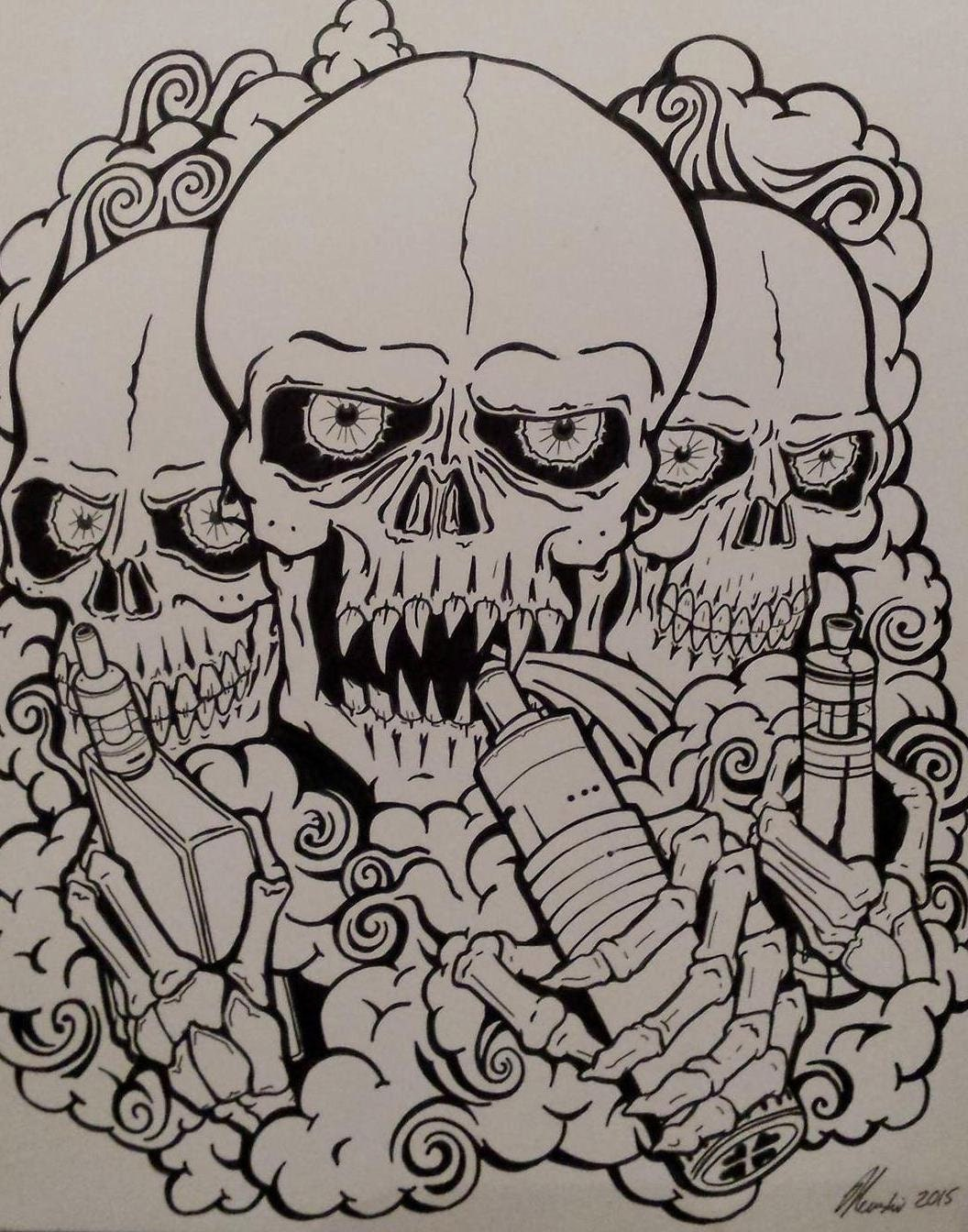 Goth Bedroom Original Vape Art 426 X 601 Mm Goth Vaping Skull Brothers