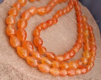 "AAA Carnelian Beads Faceted Vertical 3D Teardrop Briolette Drop Tube Beads 8"" Strand Free Ship CN5T6F0001"