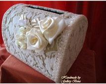 Card Box / Flower Wedding Chest/ Keepsake Box /Money Jeweled Card Box /Gift Holder / Bridal Lace Card Box ivory Handmade from the EU Sample