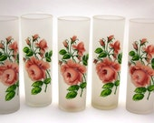 Frosted Rose Ice Tea Glasses