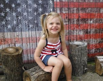 Photography Backdrop - American Flag On Wood - Weathered wood American flag photo backdrop - Wood flag printed backdrop