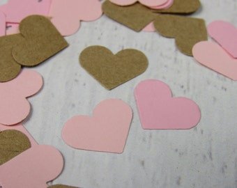 500 Brown and Pink Paper Hearts - Brown and Pink Heart Confetti - Bridal Shower Confetti