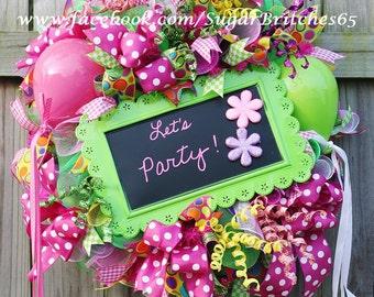ON SALE,Party Wreath, Balloon Wreath, Birthday Wreath