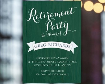 Men's retirement party invite, Golf retirement party, farewell party invite, printable retirement party invitation, Goodbye party golf theme