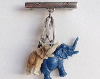 Vintage rare brooch with two elephants