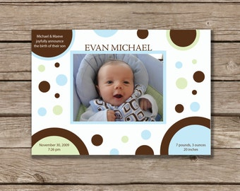 Baby Announcement, Printable, Baby Boy, Baby Girl, Digital File, Photo Card, Made to Order
