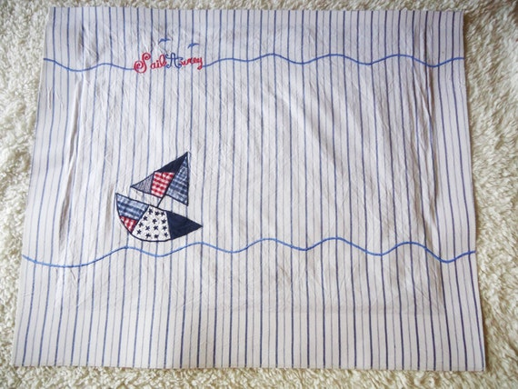 Items similar to nautical baby recycled fabric panel for Nautical nursery fabric