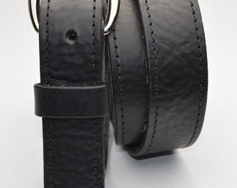Handmade Leather Belt. 1 Inch Wide. Beautiful Supple Textured Leather, Black or Brown, Solid Brass Hardware #MB1187