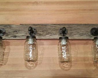 Barnwood Mason Jar Light Fixture 4 light fixture