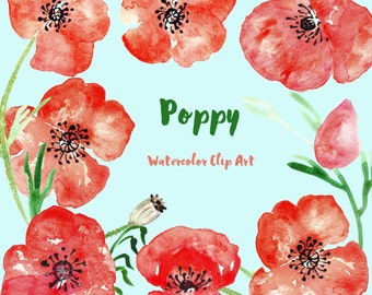 Poppy watercolor clipart, Watercolour clipart hand drawn. SET Poppy, rustic wedding, bright, red flowers invitations, poppy clip art.
