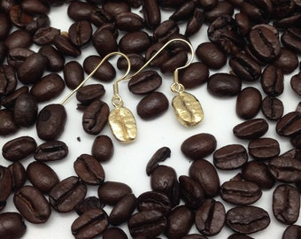 Ear pendants 'coffee' gold plated silver