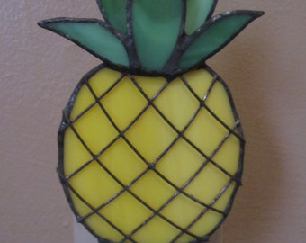 Pineapple Night Light in Stained Glass