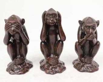 Hardened Clay 3 Monkey Figurine See no Evil Hear no Evil Speak no Evil Vietnam
