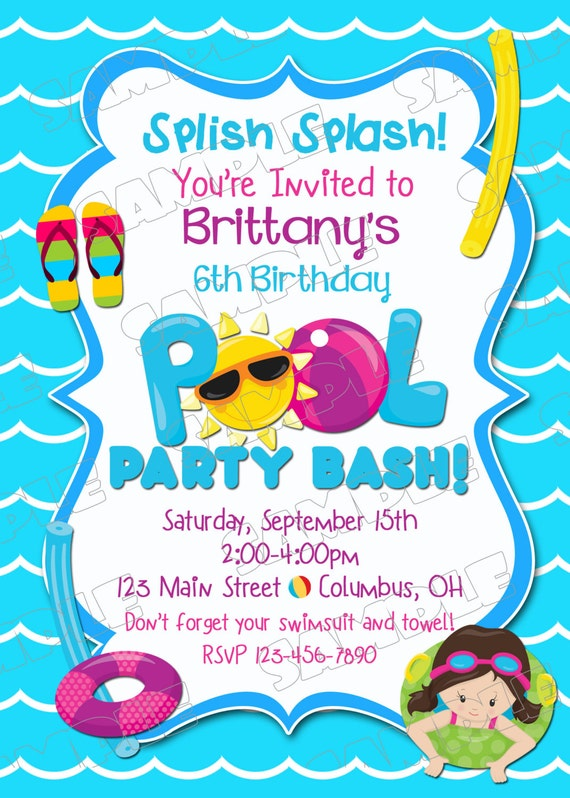 pool party invitation swim party swimming birthday party, invitation samples