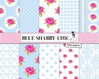 "Shabby Chic Digital Paper: ""Blue Shabby Chic"" Floral scrapbook background, romantic papers with roses, damask for wedding invites, cards"