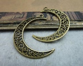 20pcs 30x40mm antique bronze single ring moon pendant, moon charms setting connector Jewelry findings  bC8037