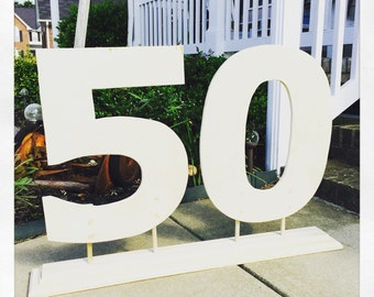 50th birthday 40th birthday wooden numbers with stand freestanding numbers with routed stand birthday party decor