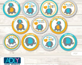 Boy Peanut Cupcake Toppers for Baby Shower Printable DIY, favor tags, circles, It's a Boy, Chevron- aa76bs0