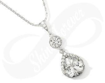Bridesmaid Jewlery Bridal Teardrop Cubic Zirconia Necklace Bridal Necklace CZ Bridesmaid Gift Wedding Jewelry Hypoallergenic Sparkly Jewelry
