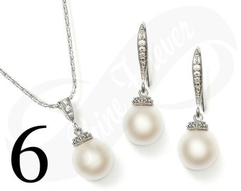 Set of 6 Bridesmaid Jewelry Set Bridal Jewlery Set Bridal Pearl Bridesmaid Jewelry Set Bridal Jewlery Set Bridesmaid Jewelry Set Pearl Set