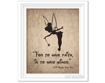 Tinkerbell Art Print Peter Pan Quote For To Have Faith J M Barrie Poster Home