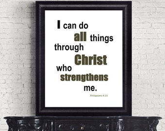 Bible Verse Christian Scripture Philippians 4:13 Gift Men I can do all things INSTANT DOWNLOAD digital art print wall decor