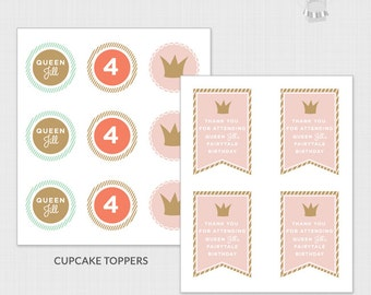 DIGITAL DOWNLOAD Personalized Princess Party Favor Tags