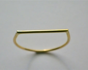 D shaped thin Gold Ring