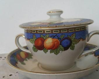 Vintage Lawleys Regent Street London Lidded Tea Cup And Saucer