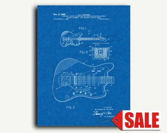 Patent Art - Clarence Fender Electric Guitar Patent Wall Art Print