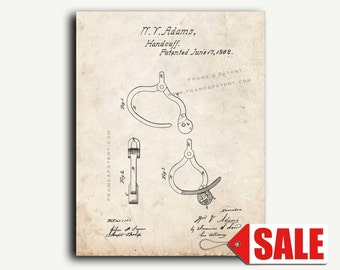 Patent Art - Improvement In Shackles Or Handcuffs Patent Wall Art Print