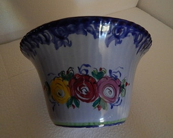 Portugal Vestal Hand-Painted Alcobaca Pottery Vase