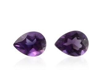 African Amethyst Loose Gemstones Set of 2 Pear Cut 1A Quality 4x3mm TGW 0.20 cts.