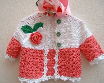 Crochet baby sweater. Cotton pink and white with a pink beaded applied. Crochet fashion girl. Romantic Cardigan for baby girl