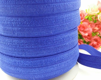 "5/8"" Cobalt Shiny Elastic, fold over elastic,#329, Elastic by the yard,DIY,Headband,Foe,Wholesale,Foldover elastic,Headbands"