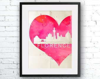 Florence Watercolor Painting, Art Print, skyline poster, Florence poster, Florence Watercolor, Italy art, Italy Watercolor, heart art