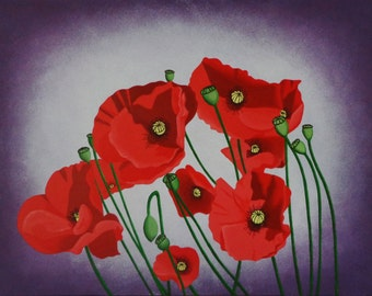 Poppies Original Acrylic Canvas Painting
