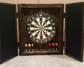 Custom Made Reclaimed Barn Wood Dart Board Case Barnwood Dartboard Cabinet